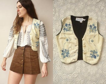 Rare Marshall Lester 1970's Vintage Cotton Applique Patched Waistcoat Size Small