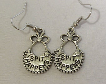 Baby Bib Saying Spit Happens Earrings
