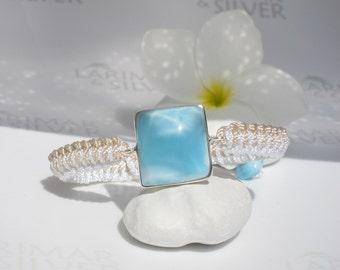 Adjustable Larimar bracelet by Larimarandsilver, Casual Mermaid 7 - crystal blue Larimar square, blue sky window, handmade macramé bracelet