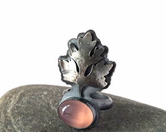 Pink Chalcedony and Sterling Silver Ring with Leaf - Awaken Ring - Size 6.5