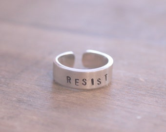 Hand Stamped Resist Ring, Hand Stamped Ring, Stamped Silver Ring, Personalized Ring, Resist Ring, ACLU Donation