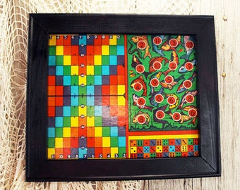 Vintage Game Board, Bright and Cheerful, Framed in Black - Fish