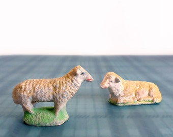 Miniature Chalkware Sheep Figurines, Made in Italy