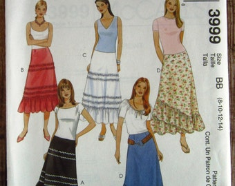 Misses Skirt in Two Lengths Sizes 8 10 12 14 McCalls Pattern 3999 UNCUT