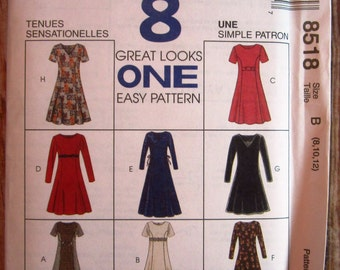 Easy to Sew Misses Semi-fitted Dress with Princess Seams, Neckline and Sleeve Variations Sizes 8 10 12 McCalls Pattern 8518 UNCUT
