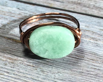 blue greeen Amazonite stone , antique copper , wire wrapped Ring - size 10 , gemstone wrap , men women , handmade jewelry , rustic hippie