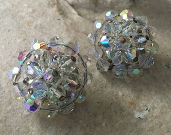 Vintage Bold: Aurora Borealis AB Crystal Round Clip Earrings SALE