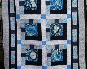 Throw Quilt, Luminaria by Julie Paschkis , blue and white quilt, mermaid quilt, original design, OOAK,Quiltsy Handmade