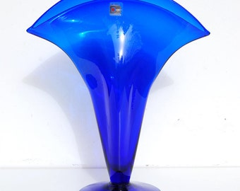 "Blenko Vase, Cobalt Blue, Fan Shape, 12"" tall, Handblown Art Glass"