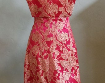 """Vintage Red and Gold Brocade Dress Strapless Bodice with Bib-Like Overlay Bust 32"""" Waist 26"""""""