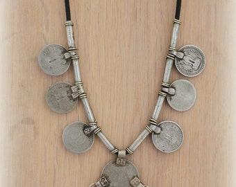 Vintage Banjara Long statement coin Necklace Gypsy Nomad Bohemian statement layering jewelry by Inali model: BNJ #3