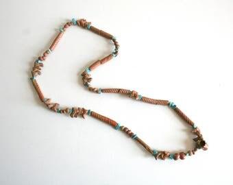 Clay Bird Turquoise Beaded Bird Necklace