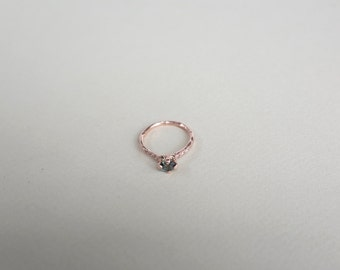 Green + White Sapphire Rose Gold Ring