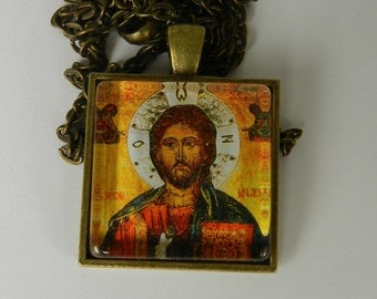 Russian orthodox Icon Jesus Christ Glass Tile Pendant Christian Necklace Religious Christ Jewelry
