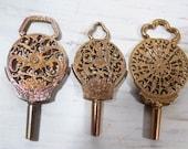 RESERVED for SUSAN - 3 Antique Pocket Watch Keys, Victorian Jewelry, Brass Watch Winder