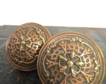 2 Eastlake Brass Door Knobs, Victorian Design, Renovation, Restoration, Home Decor, Replacement