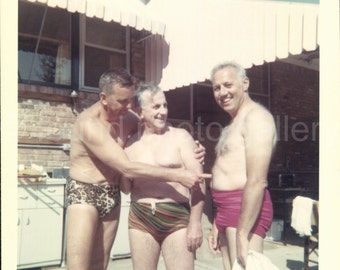 Digital Download, Very Funny Old Men in Bathing Suits, Vintage Photo, Color Photo, Vernacular Photo, Found Photo, Snapshot, Printable Photo