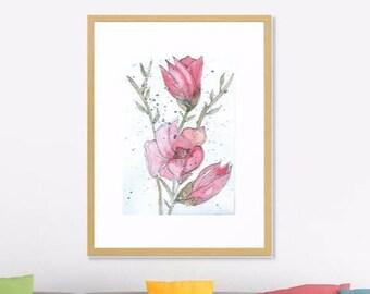 Art Print Original Watercolor Magnolia Artwork, Spring Flower Watercolor Original Art Print,   Modern Art Home decor, Abstract Art