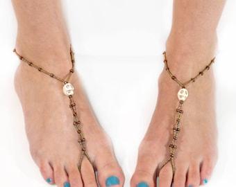 Barefoot Ankle Bracelet Set - Pair - Barefoot Ankle Bracelet - Stretchy Skull Design