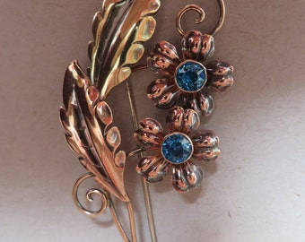 Vintage  Van Dell 40's - 50's Era Floral Multi Colored Gold Wash Solid Sterling Silver Brooch / Pin Floral Rhinestone Flowers
