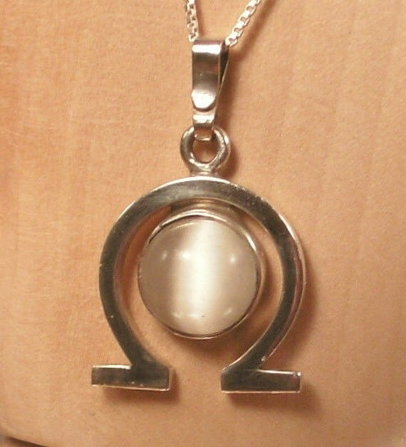 """Omega Pendant in Sterling Silver with Ulexite Cats Eye Cabochon Hand Fabricated ,18"""" Sterling Silver Chain"""
