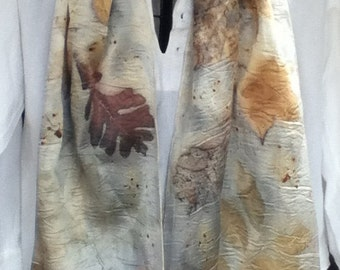 shimmery charmeuse SILK eco dyed scarf 14 x 72