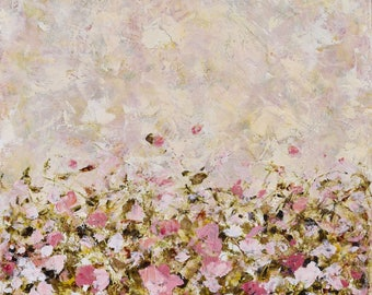 Original Garden Painting Abstract Garden painting Pink Gold Cream  Oil Cold Wax  When Birds Sing 24x24