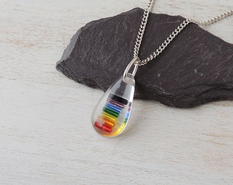 Rainbow Necklace, Rainbow Colour Resin Pendant, Gay Pride, Rainbow Jewelry, Resin Jewelry Jewellery, LGBT, UK, 174