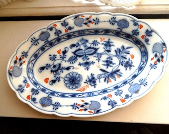 Large Meissen Platter, Blue Onion with RedMeat Plate, Crossed Sword Mark,