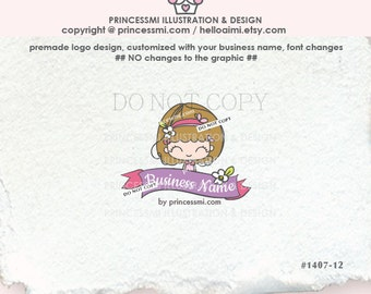 1407-12 doll logo, girl boutique logo, Premade Logo Design, Custom logo, kids child business logo, boutique