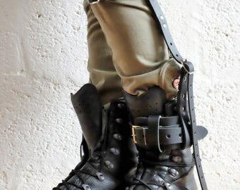 Unisex Leather High Boot Garter - Black - steampunk - burning man - festivals - apocalypse - mad max, Please read Description for size