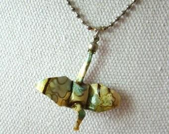 origami blue crane necklace