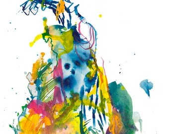 One of a Kind Abstract Fashion Figure Watercolor Painting, Original Unique Illustration - A26
