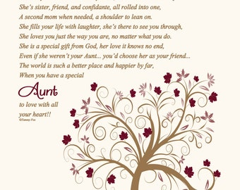 Christmas Gift for Aunt-Aunt Birthday Gift-Thank You Gift for Aunt-Aunt Poem-Aunt Wedding Print-Personalized Print-Throughout Your Life Poem