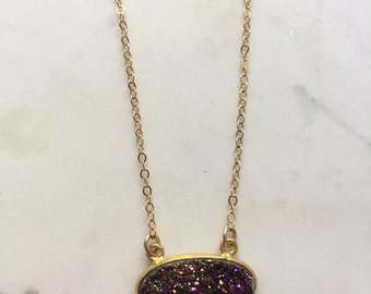 Mystic Purple Oval Druzy Necklace-Dainty Necklace, Druzy Jewelry, Druzy Necklace, Gold Necklace