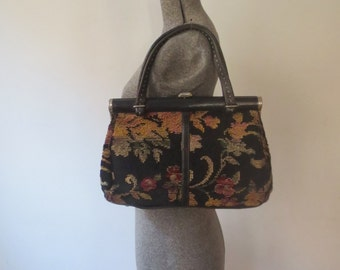 Gorgeous Vintage '60s XL Floral Needlepoint Purse, Tapestry, Carpetbag, Wide Mouth, Medical Bag Style!