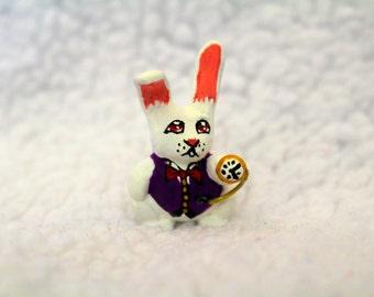 White rabbit Alice in Wonderland nursery fairy garden decoration figurine