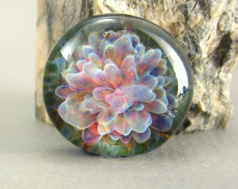 Pink Flower Petals - Lampwork Glass Cabochon - 25mm - Jewelry Making Supply