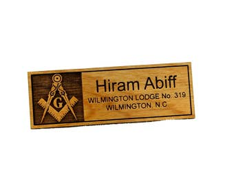 Masonic Name Tag Badge- Wood
