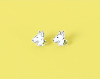Bull Terrier Dog Wood Earrings - Studs
