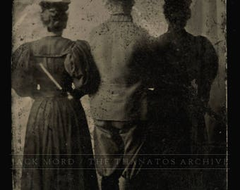Unusual Abstract Tintype Photo Three People Backs Turned to the Camera