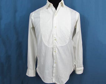 """Mens tuxedo/formal dress shirt by Marcel of Paris - embroidered front """"bib"""" S - 1960s"""