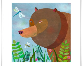 Forest Adventure Bear, Giclee Art Print, Woodland Series, Nursery Decor
