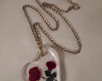 REVERSE CARVED PENDANT / Lucite / Intaglio / Heart / Red Rose Flowers / Green Leaves / Gold Chain Necklace / Mid-Century Modern / Accessory