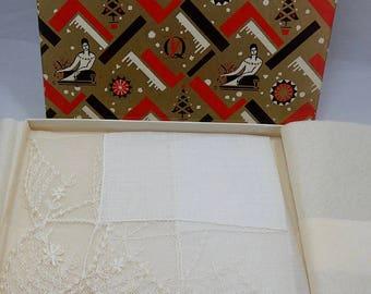 Nice Vintage Lace Wedding Handkerchief Hankie New Old Stock in Box