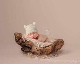 Newborn Baby Hat, 0 to 1 Months Baby Hat, Baby Teddy Bear Hat, Cream Hat, Baby Hat, Newborn Photo Props, Baby Shower Gift, Kids, Children