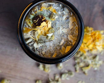 Calming Flowers Bath Soak | soothing, natural bath salts, made with organic flowers, lavender, calendula, chamomile, sensitive and dry skin