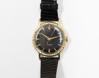 Vintage Rolex Men's or Unisex Watch, Thunderbird Bezel, 14K Gold, Manual, Bubble Back, Round Black Dial, Black Lizard Leather Band 510022