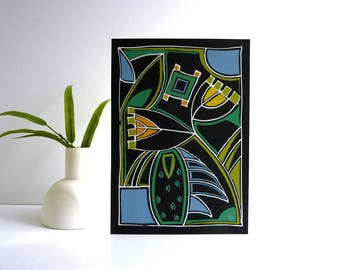 Contemporary Art Deco painting, 20th century modern, mixed media drawing, modern home decor