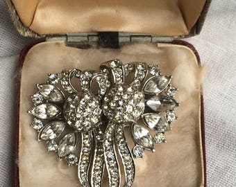 Vintage Paste Dress Clip full Duette Brooch with Box
